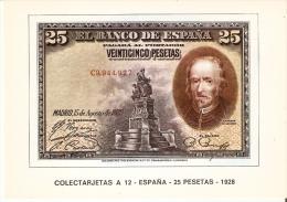POSTAL DE ESPAÑA DE UN BILLETE DE 25 PTAS DEL AÑO 1928 (BANKNOTE) - Monedas (representaciones)