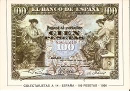 POSTAL DE ESPAÑA DE UN BILLETE DE 100 PTAS DEL AÑO 1906 (BANKNOTE) - Monedas (representaciones)