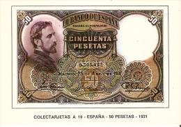POSTAL DE ESPAÑA DE UN BILLETE DE 50 PTAS DEL AÑO 1931 (BANKNOTE) - Monedas (representaciones)