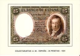 POSTAL DE ESPAÑA DE UN BILLETE DE 25 PTAS DEL AÑO 1931 (BANKNOTE) - Monedas (representaciones)