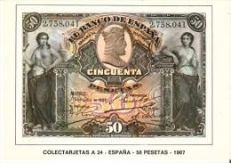 POSTAL DE ESPAÑA DE UN BILLETE DE 50 PTAS DEL AÑO 1907 (BANKNOTE) - Monedas (representaciones)