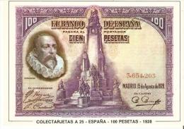 POSTAL DE ESPAÑA DE UN BILLETE DE 100 PTAS DEL AÑO 1928 (BANKNOTE) - Monedas (representaciones)