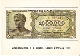 POSTAL DE ESPAÑA DE UN BILLETE DE GRECIA DE 1000000 DRACMAS DEL AÑO 1944 (BANKNOTE) - Monedas (representaciones)