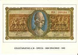 POSTAL DE ESPAÑA DE UN BILLETE DE GRECIA DE 5000 DRACMAS DEL AÑO 1943 (BANKNOTE) - Monedas (representaciones)