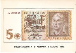 POSTAL DE ESPAÑA DE UN BILLETE DE ALEMANIA DE 5 MARCOS DEL AÑO 1942 (BANKNOTE) - Monedas (representaciones)