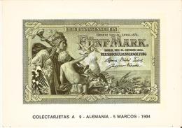 POSTAL DE ESPAÑA DE UN BILLETE DE ALEMANIA DE 5 MARCOS DEL AÑO 1904 (BANKNOTE) - Monedas (representaciones)