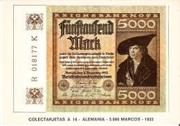 POSTAL DE ESPAÑA DE UN BILLETE DE ALEMANIA DE 5000 MARCOS DEL AÑO 1922 (BANKNOTE) - Monedas (representaciones)