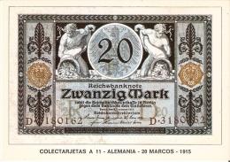 POSTAL DE ESPAÑA DE UN BILLETE DE ALEMANIA DE 20 MARCOS DEL AÑO 1915 (BANKNOTE) - Monedas (representaciones)