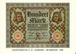 POSTAL DE ESPAÑA DE UN BILLETE DE ALEMANIA DE 100 MARCOS DEL AÑO 1920 (BANKNOTE) - Monedas (representaciones)