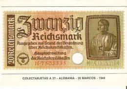 POSTAL DE ESPAÑA DE UN BILLETE DE ALEMANIA DE 20 MARCOS DEL AÑO 1944 (BANKNOTE) - Monedas (representaciones)