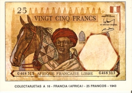 POSTAL DE ESPAÑA DE UN BILLETE DE FRANCIA (AFRICA) DE 25 FRANCOS DEL AÑO 1943 (BANKNOTE) - Monedas (representaciones)
