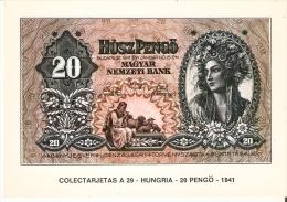 POSTAL DE ESPAÑA DE UN BILLETE DE HUNGRIA DE 20 PENGO DEL AÑO 1941 (BANKNOTE) - Monedas (representaciones)