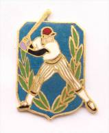Pin's BASE BALL - Batteur Sur Fond Bleu - C924 - Baseball