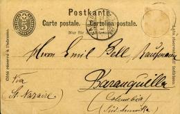 INTERO SVIZZERA SWITZERLAND 5 C 1890 STATIONERY GANZSACHE AARAU To COLOMBIA - Enteros Postales