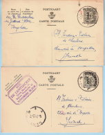 2 PWST, Afst. DENDERMONDE 1953 + 1957 - Postkaarten [1951-..]