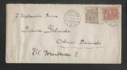 POLAND 1925 16 GR MIXED FRANKING LETTER BIEDRUSKO TO OSTROW POZNANSKI MONUMENTS SERIES - Storia Postale