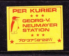 ANTARTICA: Georg V. Neumayer Station  Per Kurier, Etiquette With Penguin  & Bow Tie, Red On Yellow; Unused - Stamps