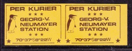 ANTARTICA: Georg V. Neumayer Station  Per Kurier, Etiquette With Penguin  & Bow Tie, Back On Orange; Unused - Stamps