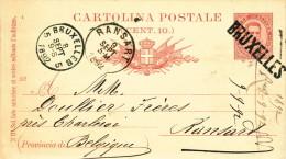 451/21 - Entier Italien 1892 Vers RANSART - TRES RARE Annulation Au Passage Par Griffe De BRUXELLES - Poststempel