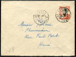 INDOCHINE - ENTIER POSTAL 10c. OBL. THAINGUYEN LE 3/3/1917, POUR HANOI - TB - Lettres & Documents