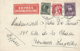 487/21 - Lettre EXPRES TP Cérès Et Képi GENT 1936 Vers ETTERBEEK BXL - TARIF 2 F 45 - Belgique