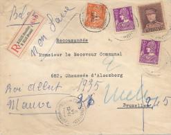489/21 - Lettre RECOMMANDEE TP Cérès( Dont 20 C) Et Képi ST GILLES 1933 Vers BRUXELLES  - TARIF 2 F 45 - Belgique