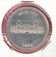 ZILVEREN PENNING 150 JAAR SPOORWEGEN TREIN NS No.1301 1952 23,7gr. 42 Mm - Professionnels/De Société