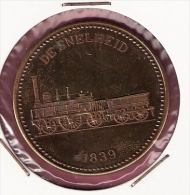 PENNING 150 JAAR SPOORWEGEN TREIN DE SNELHEID 1839 20,2gr. 42 Mm - Professionnels/De Société