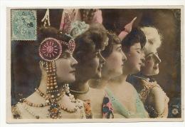 Surrealisme Montage Photo  Profil Belles Femmes Actrices  Colorisée Reutlinger Art Nouveau Oranotypie - Photographie