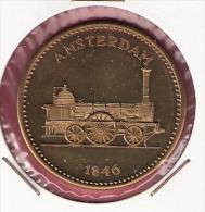 PENNING 150 JAAR SPOORWEGEN TREIN  AMSTERDAM 1846 20,2gr. 42 Mm - Professionnels/De Société