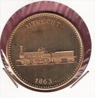 PENNING 150 JAAR SPOORWEGEN TREIN UTRECHT 1863 20,2gr. 42 Mm - Professionnels/De Société