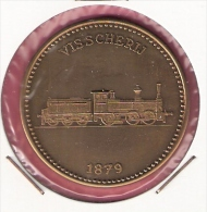 PENNING 150 JAAR SPOORWEGEN TREIN VISSCHERIJ 1879 20,2gr. 42 Mm - Professionnels/De Société
