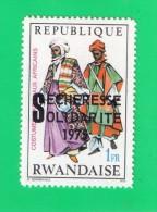 "REP. RWANDAISE ,,, SURCHARGE NOIR """" SECHERESSE SOLIDARITE ,, ** 1 F. ** ,,, 1975 ,, NEUF SANS TRACE DE CHARNIERE - 1970-79: Mint/hinged"