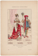Gravure Coloriée Costumes De Paris à Travers Les Siècles Noble Dame Se Rendant à La Messe (XVème Et XVIème Siècle) - Prints & Engravings