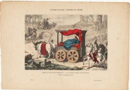 Gravure Coloriée Costumes De Paris à Travers Les Siècles Char D'un Roi Fainéant Au Fond Char De Paysan - Prints & Engravings