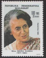 Indira Gandhi, First Woman Prime Minister Of India, Iron Lady Assasinated MNH Malagasy - Famous Ladies