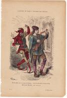 Gravure Coloriée Costumes De Paris à Travers Les Siècles Musicien (tiré Du Roman De La Rose) Fou Dansant (XIVème Siècle) - Prints & Engravings