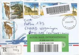 Congo 2008 Brazzaville RP Pangolin Cat Crocodile Barcoded Registered Cover - Congo - Brazzaville