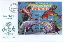 Maldives 2005 Sheet/4 Prehistoric Dinosaurs #2848 FDC - Maldivas (1965-...)