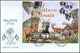 Maldives 2005 Sheet/4 Prehistoric Dinosaurs #2850 FDC - Maldivas (1965-...)