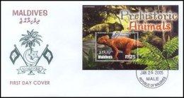 Maldives 2005 Souvenir Sheet Prehistoric Dinosaurs #2854 FDC - Maldivas (1965-...)