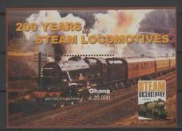 Ghana (2004) Yv. Bf. 462   /  Train - Locomotive - Railway - Tren - Eisenbahn - Treni