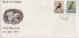 ZAMBIA  FDC Birds  /  ZAMBIE   Lettre De 1er Jour 1977 - Vögel