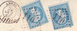 FRAGMENT AFFRANCHIE N° 22 X2 - OBLITERES GROS CHIFFRES 110-ANNECY -1866