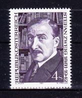 AUSTRIA   1981 , Stefan Zweig 100 Years Birth   , Y&T  #  1521,  Cv   1.20  E , **  M N H , V V F - 1981-90 Nuovi & Linguelle
