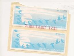 """Paire  ATM-LISA Papier Oiseau Vignette Vierge (550 ) Avec Une  """"TEST D IMPRIMANTE"""" - 1990 «Oiseaux De Jubert»"""