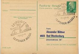 HAFEN MESSE LEIPZIG 1967 Auf DDR P77A Antwort-Postkarte ZUDRUCK BÖTTNER #1 - Schiffahrt