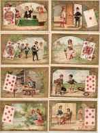 Langage Et Jeu De Cartes X 31chromos Fond Or - As, Roi, Dame, Valet, Dix, Neuf, Huit, Sept - Guérin-Boutron