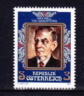 AUSTRIA   1982 ,  Max Mell -  Writter     , Y&T  #  1552 Cv   0.90 E , **  M N H , V V F - 1981-90 Nuovi & Linguelle
