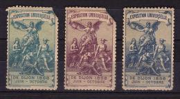 """21 - COTE D´OR /  DIJON  3 Vignettes Couleurs Differentes """" Exposition Universelle 1898 """" - Sin Clasificación"""